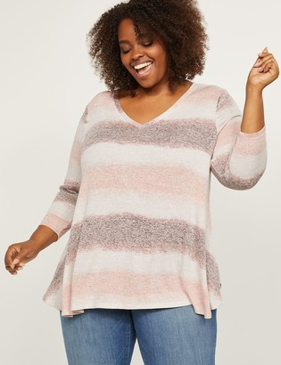 Lane Bryant Softest Touch Striped Swing Top