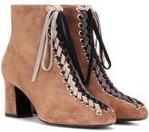 Roger Vivier Bootie Tressage Chunky 70 Lace-up Suede Ankle Boots