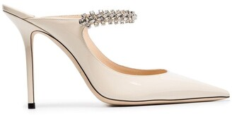 Jimmy Choo linen white Bing 100 crystal anklet patent leather mules