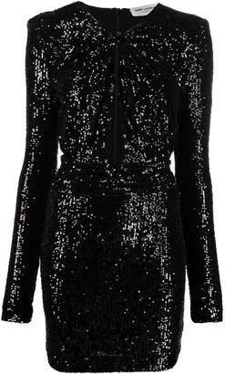 Saint Laurent Cut-Out Sequinned Long-Sleeve Dress