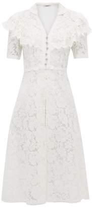 Miu Miu Ruffled Cotton-blend Guipure-lace Midi Dress - Womens - White
