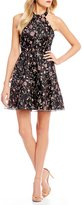 Sequin Hearts Floral Vine-Embroidered Fit-And-Flare Dress
