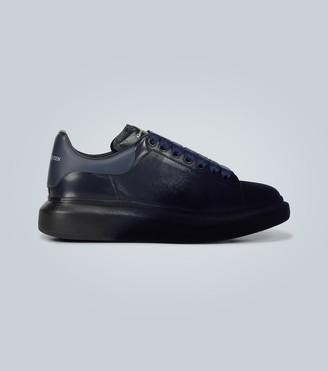Alexander McQueen Oversized leather and velvet sneakers