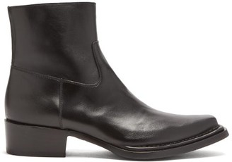 Acne Studios Bruno Leather Western Boots - Black