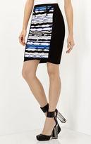 Herve Leger Vera Striped Ripple Jacquard Pencil Skirt