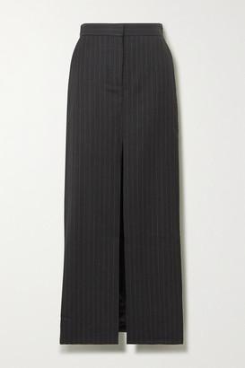WRIGHT LE CHAPELAIN Pinstriped Wool Maxi Skirt - Dark gray