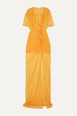Eywasouls Malibu Elke Wrap-effect Ruched Printed Chiffon Maxi Dress - Orange