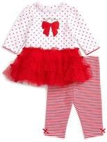 Little Me Rosy Red Dress & Leggings Set (Baby Girls)