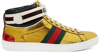 Gucci Women's New Ace Metallic Snakeskin Sneakers - Gold
