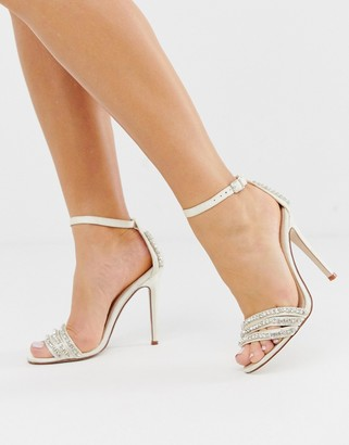 Be Mine Bridal Glimmer ivory satin embellished stiletto heeled sandals