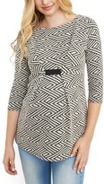 Maternal America Women's Textured Geo Pattern Maternity Top