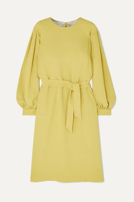 Dries Van Noten Dizan Belted Crepe Dress - Chartreuse
