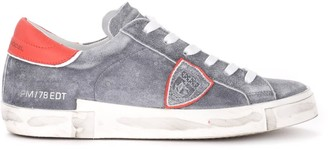 Philippe Model Paris X Model Sneaker Made Of Washed Gray Leather With Red Spoiler