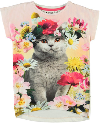 Molo Girl's Ragnhilde Cat in Floral Headdress Graphic Tee, Size 3-10