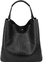 Black Ostrich-Embossed Hobo & Pouch
