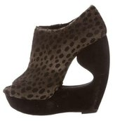 Alaia Ponyhair Peep-Toe Wedge Booties