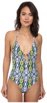 Shoshanna Grommet Tie Front Maillot