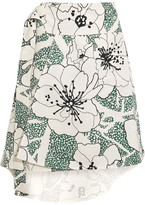 Marni Asymmetric Printed Cotton-blend Twill Skirt - White