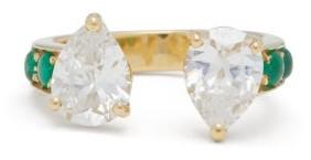 Dubini Theodora Emerald, Zircon & 18kt Gold Ring - Green Multi
