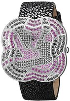 Black Diamond Swisstek SK47806L Limited Edition Swiss Watch With Pink Sapphires, Genuine Stingray Galuchat Strap And Sapphire Crystal