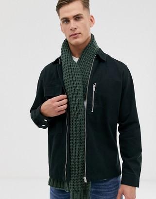 ASOS DESIGN knitted scarf in khaki