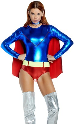 Forplay Women's Two-Tone Metallic Hero Bodysuit with Attached Cape and Neon Belt