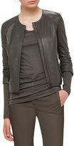 Akris Punto Perforated Leather Jacket, Olive