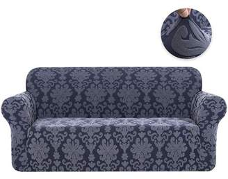 Subrtex 1-Piece Stretch Jacquard Damask Elegant Collection Loveseat Slipcover Easy Fitted Couch Cover Stretchable Durable Furniture Protector (Grayish Blue)