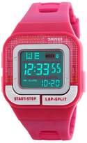 Gosasa Casual Girls Sport Casual Resin Strap Digital LED Watch Waterproof Hot Pink