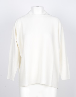 Lamberto Losani Pure White 100% Cashmere Women's Oversized Sweater