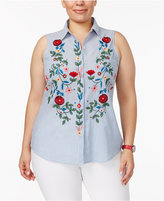 NY Collection Plus Size Cotton Embroidered High-Low Shirt