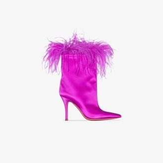 Amina Muaddi pink Nakia Plume feather satin boots