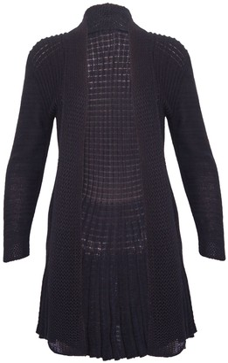 Purple Hanger Womens Long Sleeve Waterfall Ladies Boyfriend Stretch Knitted Front Open Cardigan Sweater Top Plus Size Black Size 16 - 18 (M/L)