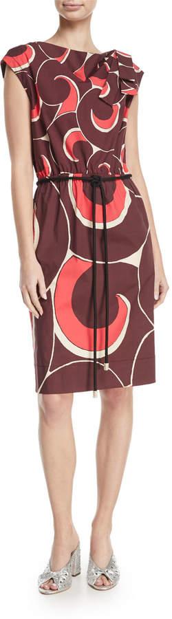 Marc Jacobs Cap-Sleeve Drawstring Abstract-Print Dress