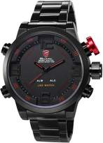 Shark Men's Sport LED Date Day Display Alarm Stainless Steel Analog Digital Quartz Oversized Wrist Watch SH105 Red