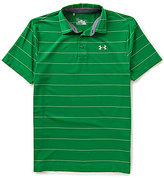 Under Armour Golf Short-Sleeve Power in Pink Horizontal-Stripe Polo Shirt