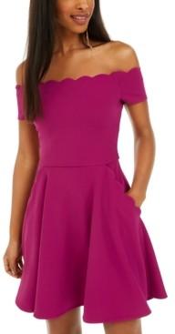 B. Darlin Juniors' Scalloped Off-Shoulder Dress