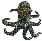 Kenneth Jay Lane Women's Silver Plated Multicolour Crystals Red Eyes Octopus Brooch