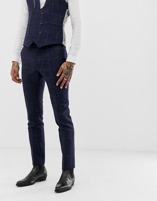 Twisted Tailor super skinny suit pants in navy tweed check