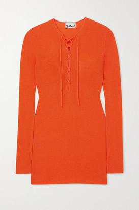 Ganni Lace-up Merino Wool Sweater - Orange