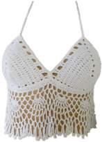 tinacrochetstudio Handmade Crochet Halter Crop Top Bikini Swimsuit