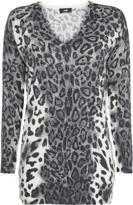Wallis Grey Animal Print Embellished Jumper