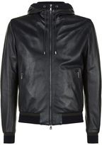 Dolce & Gabbana Leather Hooded Zip-up Jacket