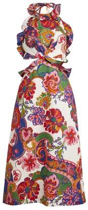 Zimmermann Paisley Lovestruck Tie-Back Mini Dress