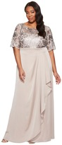 Adrianna Papell Plus Size Sequin Embroiderd Draped Gown with Elbow Sleeve