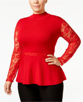 INC International Concepts Plus Size Lace-Sleeve Peplum Sweater, Only at Macy's