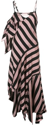Marques Almeida Striped Asymmetric Maxi Dress