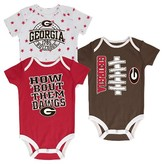 NCAA Georgia Bulldogs Newborn 3-Pack Bodysuit Set