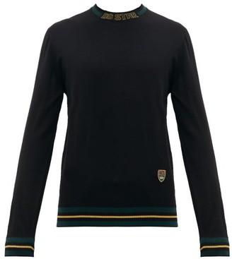 Dolce & Gabbana Striped Trim Crest Embroidered Wool Blend Sweater - Mens - Black