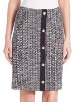 St. John Tweed Button Front Wool Skirt
